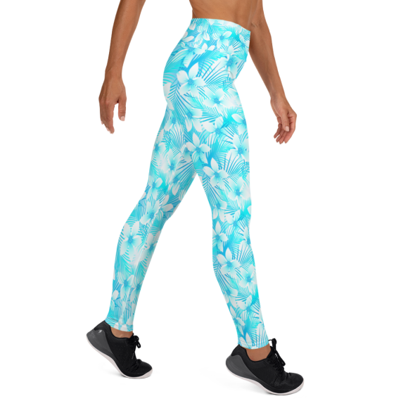 Original High Waist Turquoise Floral Yoga Leggings - Essentials Women's Standard Tropical Summer Hawaii Leggings |, Premium Ultra Soft Athletic Yoga Pants, High Waisted Yoga Leggings For Workout & Everyday Use/ Comes in Different Sizes and Pockets