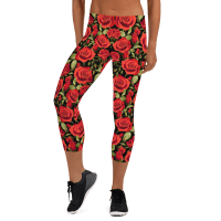 Stylesters Red Roses Capri Leggings/ Ultimate Yoga Leggings, Yoga Pants, Women Tights, Printed Art Leggings, Essentials Women's Standard Workout Leggings, Best Women's Leggings, Affordable Tights, Sport Clothing