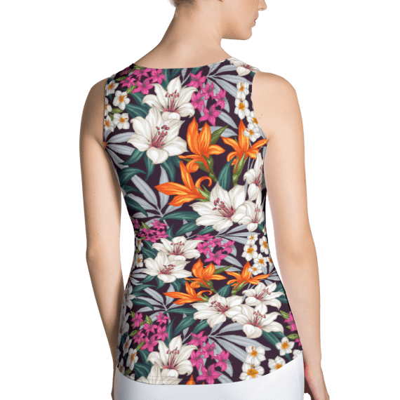 Blooming Jungle Flowers and Leaves Tank Top - Modern Gym Workout Tops