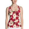 White and Red Roses Tank Top - Women's Floral Fashion Tank Top