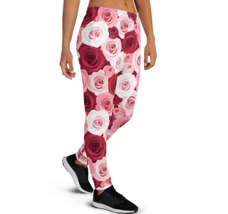 Women's Best True Lover Red and Pink Roses Gym Workout Jogger Pants with Pockets