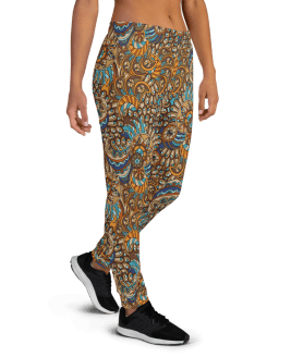 Women's Bright Ornament Pattern Gym Jogger Pants with Pockets, (XS-3XL) Cozy Fit