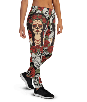 Women's Incredible Sugar Skull Face Workout Running Jogger Pants with Pockets