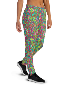 Women's Incredible Vibrant Colored Ornament Workout Jogger Pants with Pockets