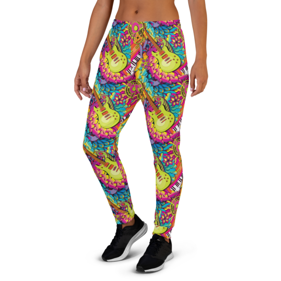 Women's Psychedelic Guitar and Synth Music Lover Gym Jogger Pants with Pockets