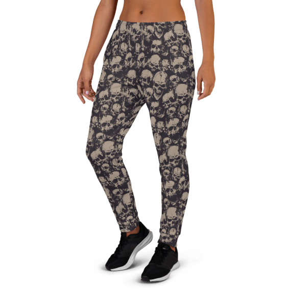 Women's Scary Grunge skulls Running Joggers with Pockets, (XS-3XL) Relaxed Fit