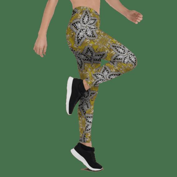 Best Golden Gradient Floral Leggings