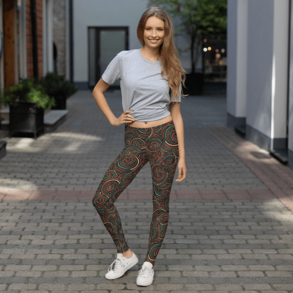 Cool Swirls and Clouds Patterned Leggings - Best Victoria Sport Leggings