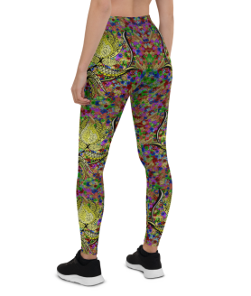 Lotus Flower Pattern Leggings, colorful Lotus Yoga Pants, Lotus Printed Leggings