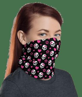 New Protective Pink Hearts and Skulls Face Mask, Neck Gaiter, Headwear , Bandana