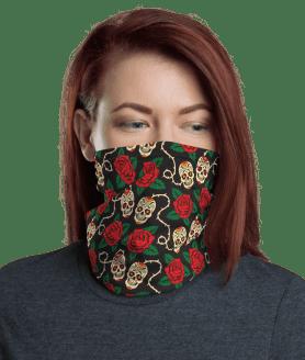New Protective Sugar Skulls Face Mask, Neck Gaiter, Headwear , Scarf, Bandana