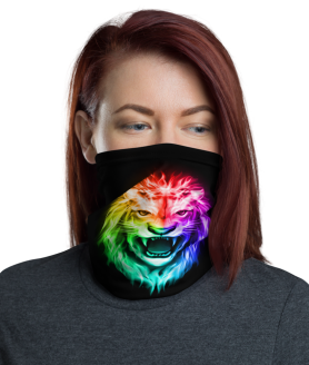 New Rainbow Colored Lion Head - King of Fire Face Mask, Bandanna, Scarf, Neck Gaiter, Headwear, Headband Hair Cover, Mouth Cover, Nose Cover, Scarves
