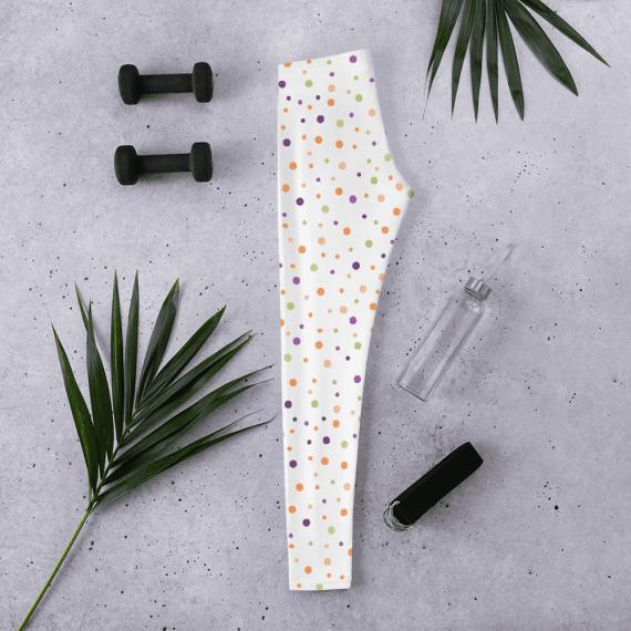 Polka Dotted Leggings - Colored Halloween Polka Dots Polyester/Spandex Leggings