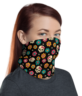 Protective Flowers and Skulls Face Mask, Neck Gaiter, Headwear , Scarf, Bandana