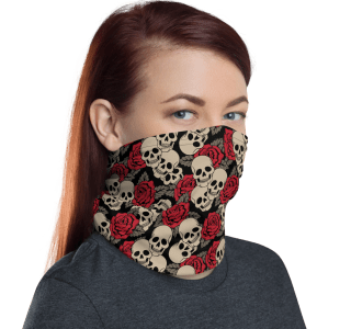 Protective Roses and Skulls Face Mask, Neck Gaiter, Headwear , Scarf, Bandana