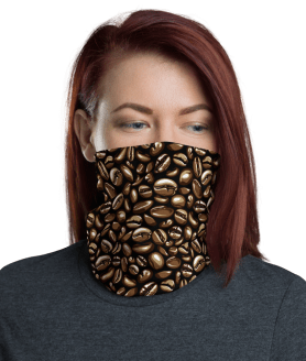 Washable & Reusable Coffee Lovers Protective Face Mask, Bandanna, Scarf, Neck Gaiter, Headwear, Headband Hair Cover, Mouth Cover, Nose Cover, Scarves