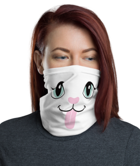 New Funny Cat With Tongue Out Face Mask, Neck Gaiter Face Shield Cover Facemask, Neck Gaiter