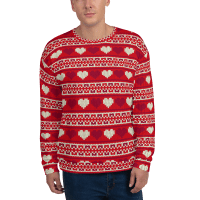 Best Hearts Christmas Sweater, Unisex Red and White Hearts Holiday Sweatshirt