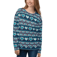 Beautiful Christmas Sweater, Unisex Christmas Sweatshirt in Stripe with Hearts