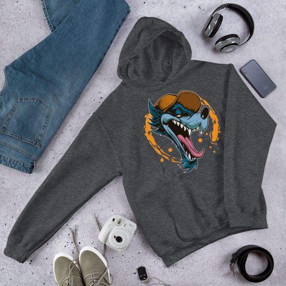 Unisex Wolf Dog Hoodie, Animal Lover Hooded Pullover Sweatshirt