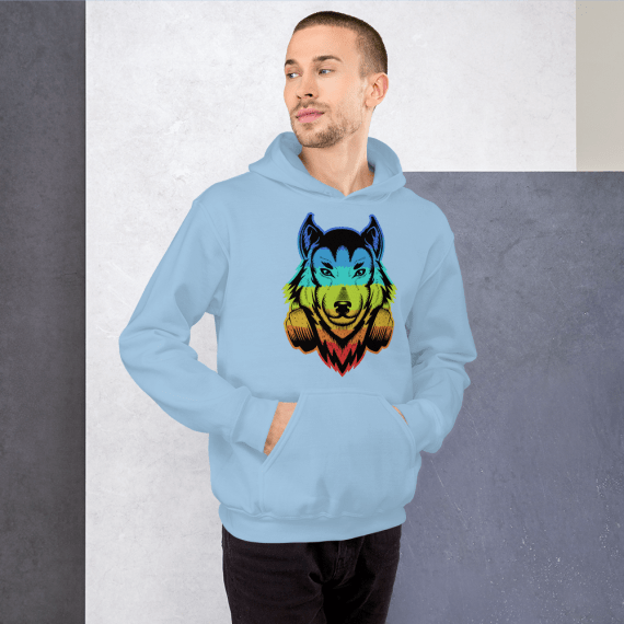 Colorful Wolf Animal Hoodie, Cool Graphic Print Long Sleeve Pullover Unisex Hoodie