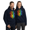 Rainbow Neon Tiger Animal Hoodie, Cool Graphic Print Long Sleeve Pullover Hoodie
