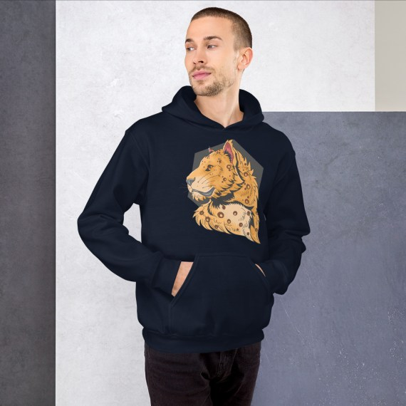 Lion King Of The Jungle Hoodie, Cool Lion Hooded Pullover Sweatshirt