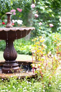 Garden and fountain at Holberry House in Nannup