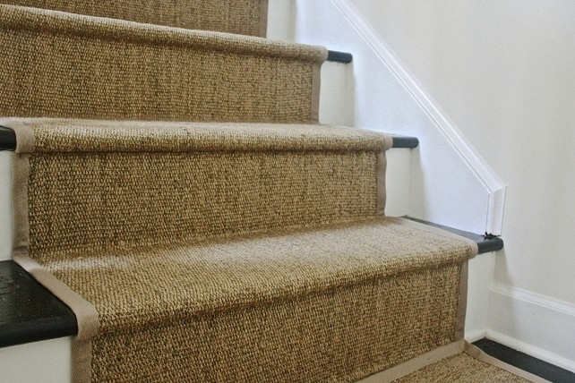 Diy Ikea Jute Rug Stair Runner What Emily Does | Rug Runners For Stairs | Wood | Antelope | Hallway | Persian | Mid Century Modern