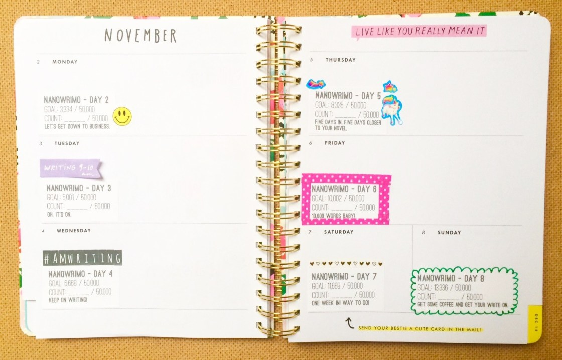 NaNoWriMo Word Count Planner Stickers
