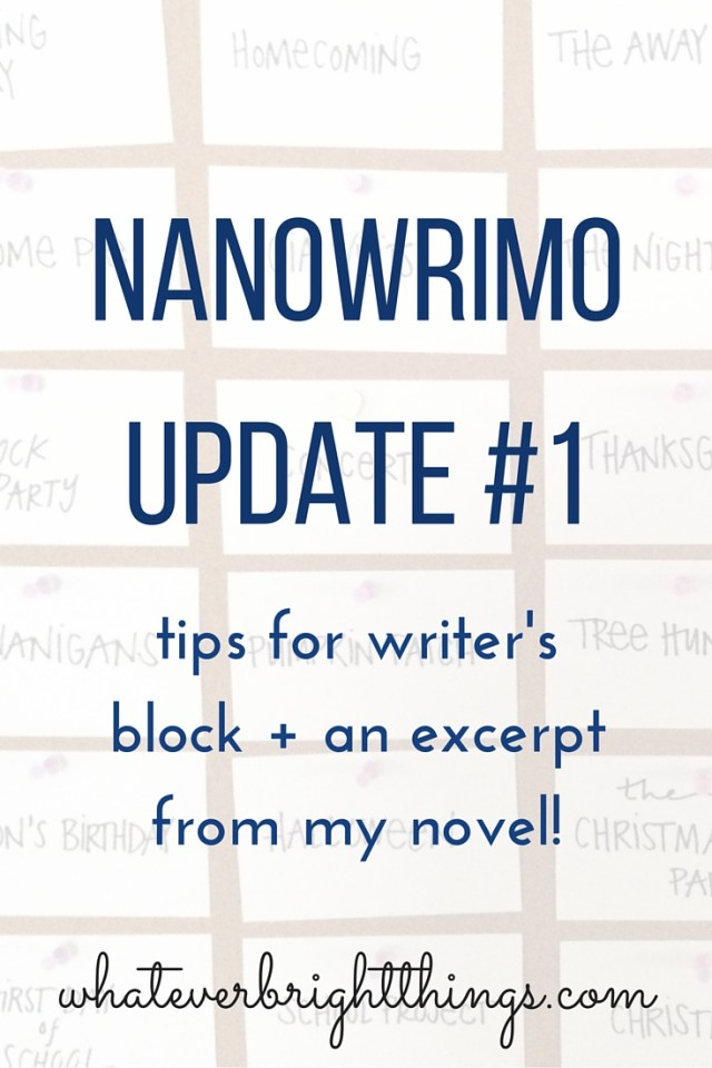 1 day down, 29 to go! Click through to see how I handled a major case of writer's block and to read an excerpt from my novel!
