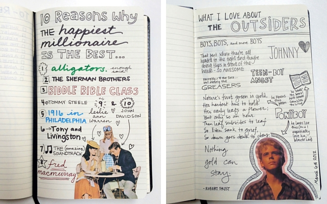 A page about one of my favorite movies, The Happiest Millionaire, and one of my favorite books, The Outsiders. I used listing for both to record what I liked about each.