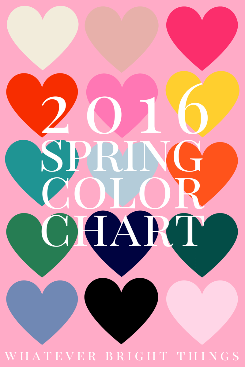Brighten up your life with this 2016 Spring Color Chart! Whether you're an artist, fashionista, creative, or color nerd, come see which color trends have caught my eye this season.
