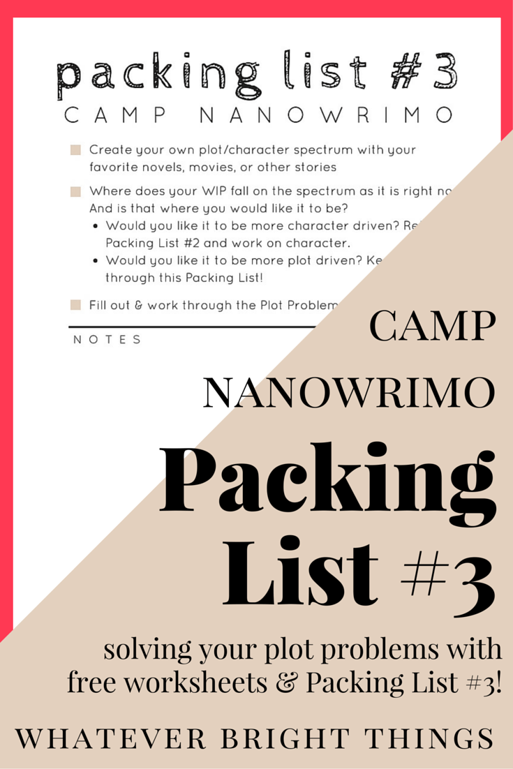 Having Plot Problems? Prepare for Camp NaNoWriMo with this Packing List and free worksheets all about figuring out your story arc. Packing for camp was never so easy!