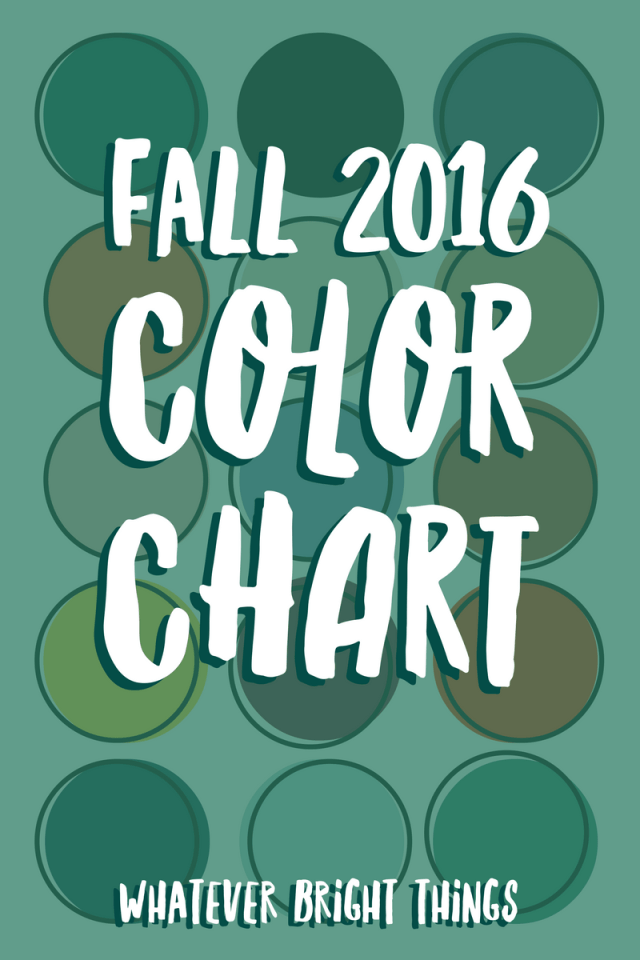With Fall just around the corner, it's time to get ready for all the bright, earthy colors of the season! Check out this Fall 2016 Color Chart - which one is your favorite?