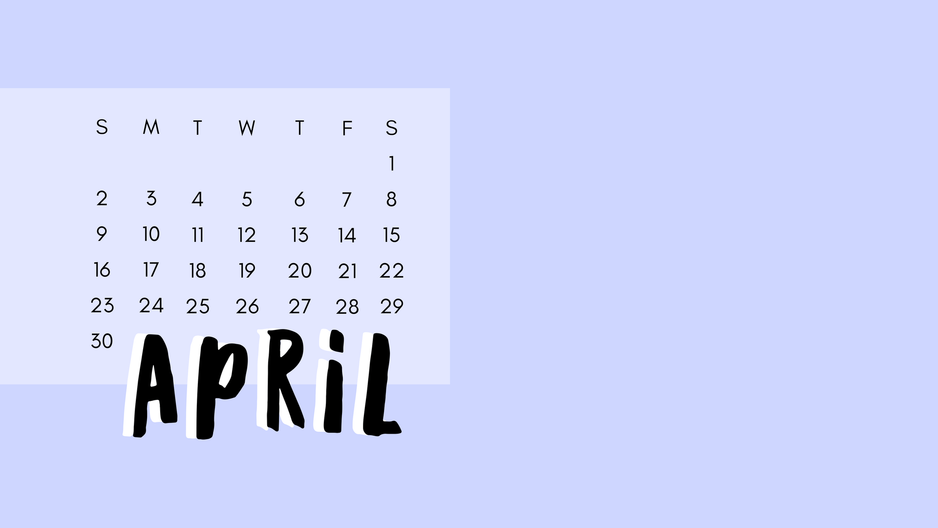 April Calendar Periwinkle