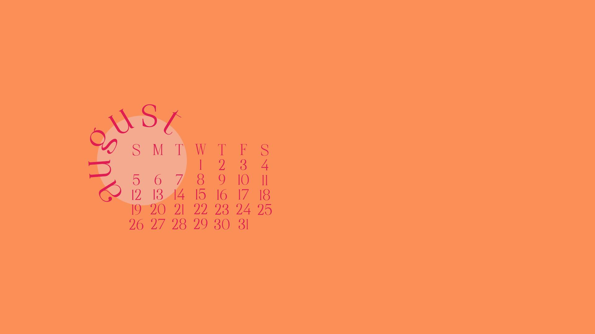 August Calendar Orange