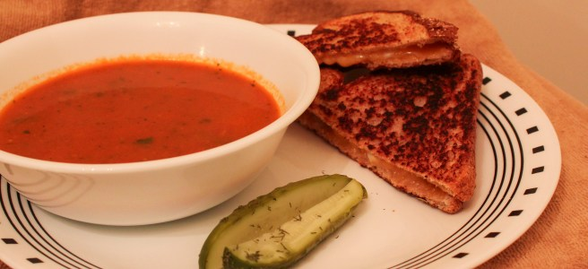 We ate the soup with grilled cheese and some homemade dill pickles (the cucumbers also came from aCSA box).