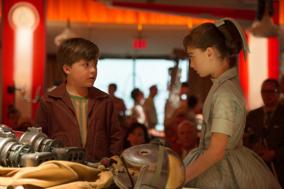 Disney's TOMORROWLAND L to R: Young Frank (Thomas Robinson) & Athena (Raffey Cassidy) Ph: Kimberley French ©Disney 2015