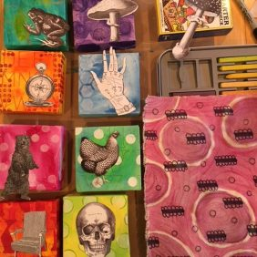 Colorful Mixed Media Squares