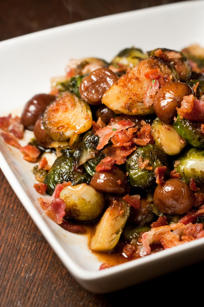 Maple glazed brussels sprouts and chestnuts