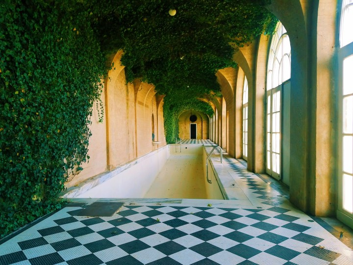 Indoor pool with black and white tile on Long Island at Oheka Castle