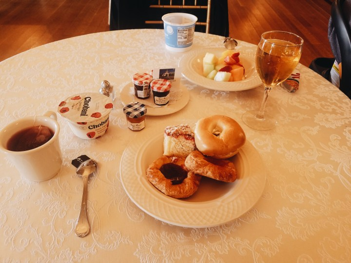 Continental Breakfast with bagels, pastries, yogurt, tea, and apple juice at Oheka Castle on Long Island
