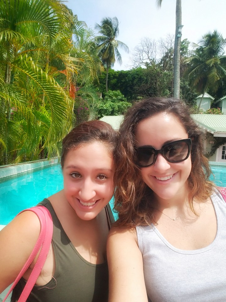 The author in St Lucia with a friend.