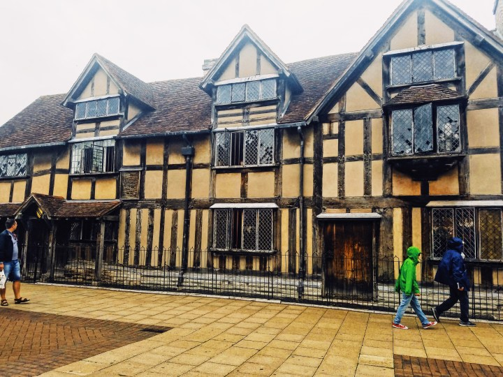 The outside of Shakespeare's childhood school and the guild hall.