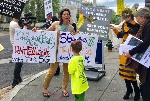 Protestors rally outside the FCC in opposition to 5g small cells