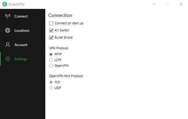 BulletVPN Settings