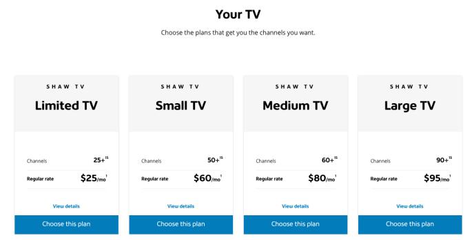 Shaw TV Plans