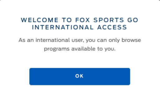 Fox Sports Go Error Message