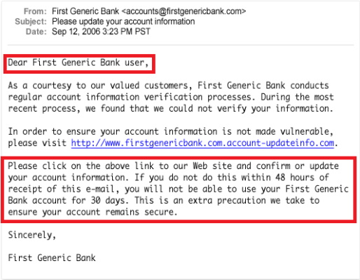 Online Shopping Scams Phishing Email Example